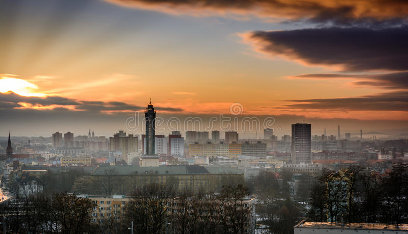 Ostrava in sunset. Czech republic city Ostrava in winter sunset royalty free stock photo