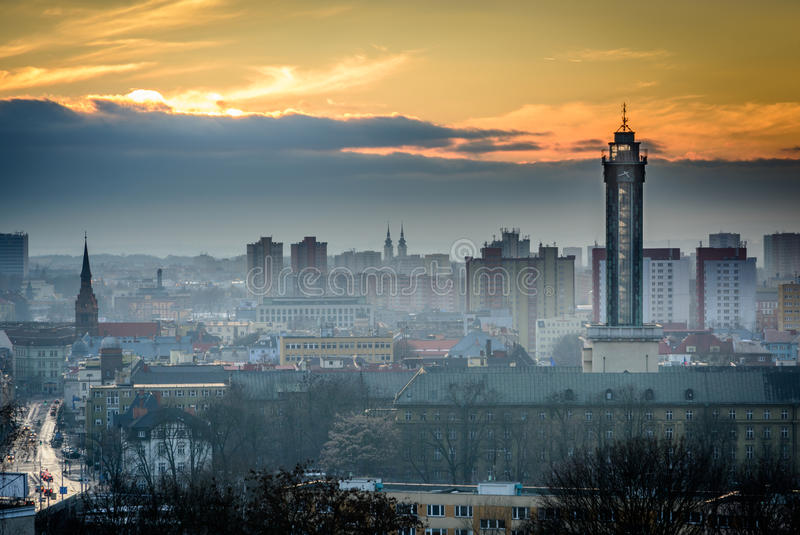 Ostrava in sunset. Czech republic city Ostrava in winter sunset royalty free stock photography