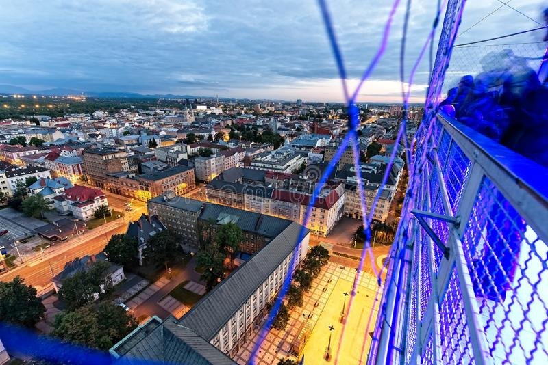 Ostrava from the top. Evening Ostrava city from above from town hall tower. City scape  with river Ostravice in evening blue hour stock image