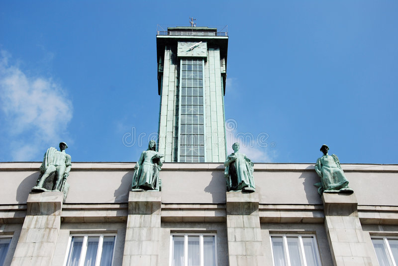 Ostrava town hall. Square outlook royalty free stock photo