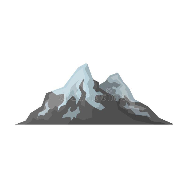 Ostre góry na wierzchołkach, z czego śnieg topi Różne góry przerzedżą ikonę w kreskówka stylu wektoru symbolu ilustracji