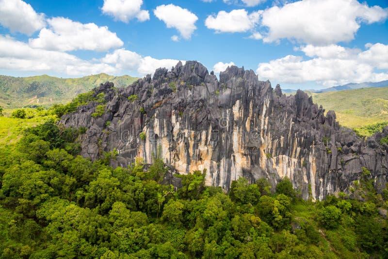 Ostre igły czarni powulkaniczni szczyty Góry blisko Mont Aoupinie i Poya rzeki, widok z lotu ptaka Nowy Caledonia, Melanesia, Oce obraz royalty free
