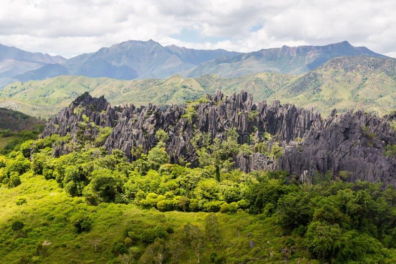 Ostre igły czarni powulkaniczni szczyty Góry blisko Mont Aoupinie i Poya rzeki, widok z lotu ptaka Nowy Caledonia, Melanesia, Oce zdjęcia royalty free