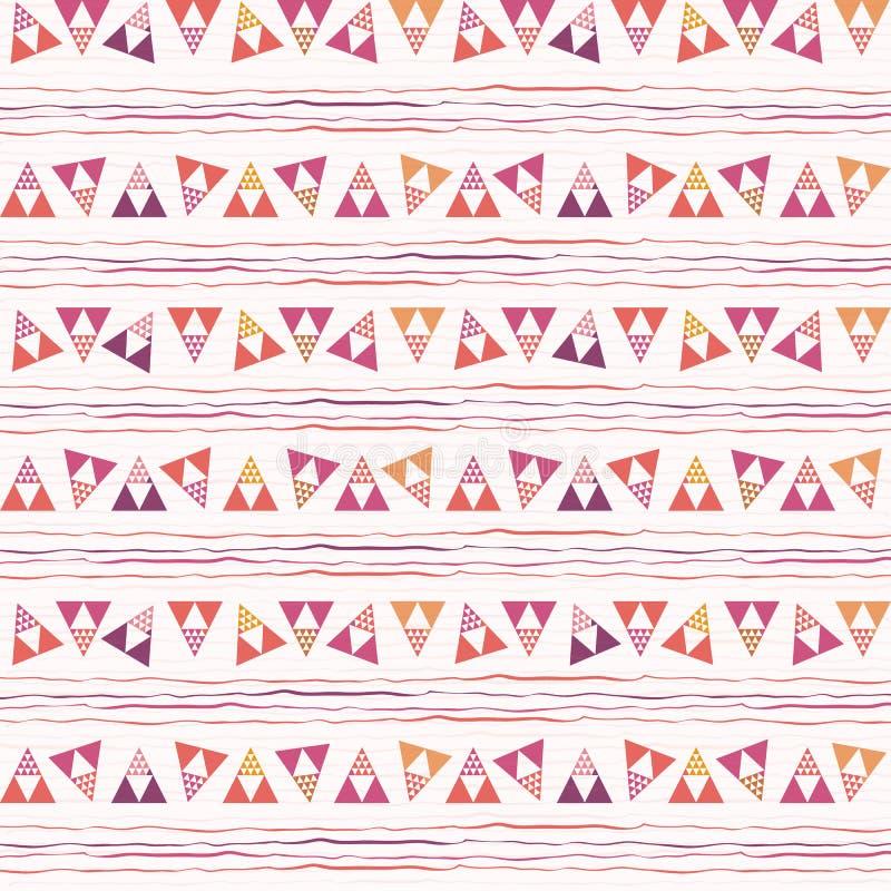 Ostre menchie, trójbok i doodle geometryczny projekt, purpur i pomarańcze Powtórka wektoru wzór na białej doodle teksturze ilustracja wektor