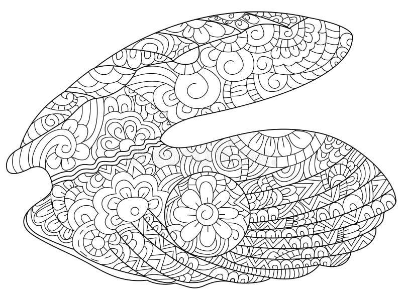 Ostrica con il vettore del libro da colorare della perla per gli adulti royalty illustrazione gratis