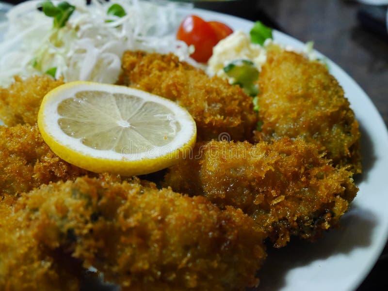 Ostrica deliziosa della frittura di stile giapponese fotografia stock libera da diritti