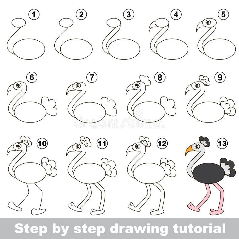 Ostrich Dra som är orubbligt vektor illustrationer