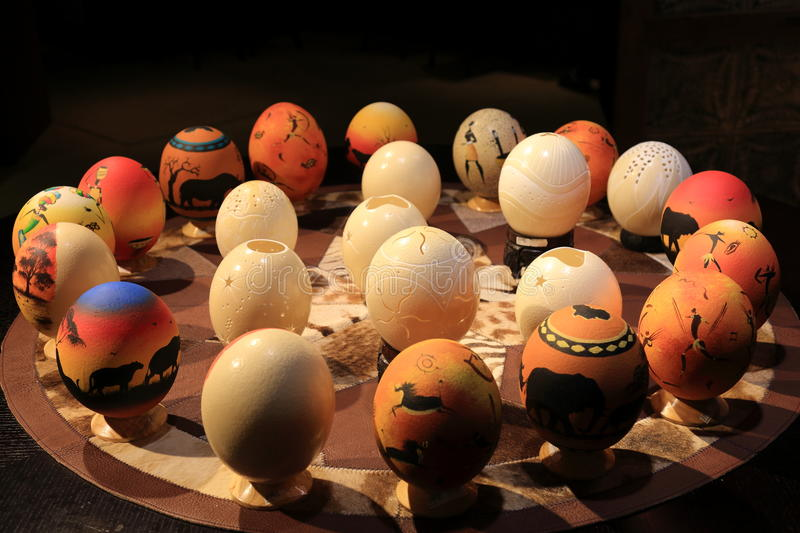 Ostrich eggs. Craftwork made of ostrich eggs, south Africa royalty free stock photos