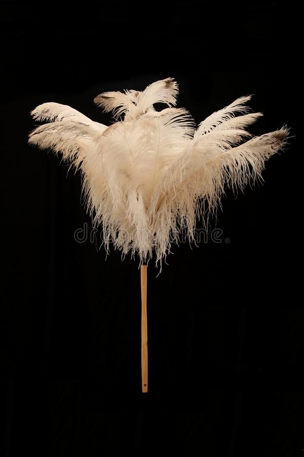 Ostrich Feather Duster. Large feather duster made from natural ostrich feathers stock photos