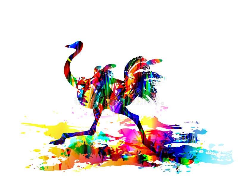 Ostrich running. Digital painting. Vector illustration. Ostrich running. Colourful Digital painting. Exotically savannah bird. Vector illustration of tropical stock illustration