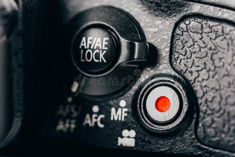 ostrość, ujawnienie kędziorka tarcza I filmu rejestru guzik Na Cyfrowej kamerze, zdjęcia stock
