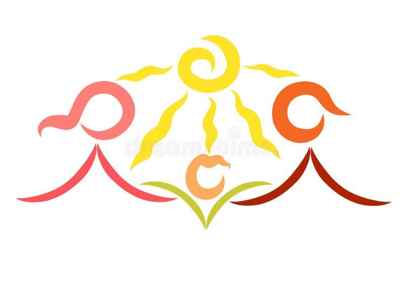 Ostrożni rodzice i dziecko jak kwiat, szczęście i ecolog, ilustracji