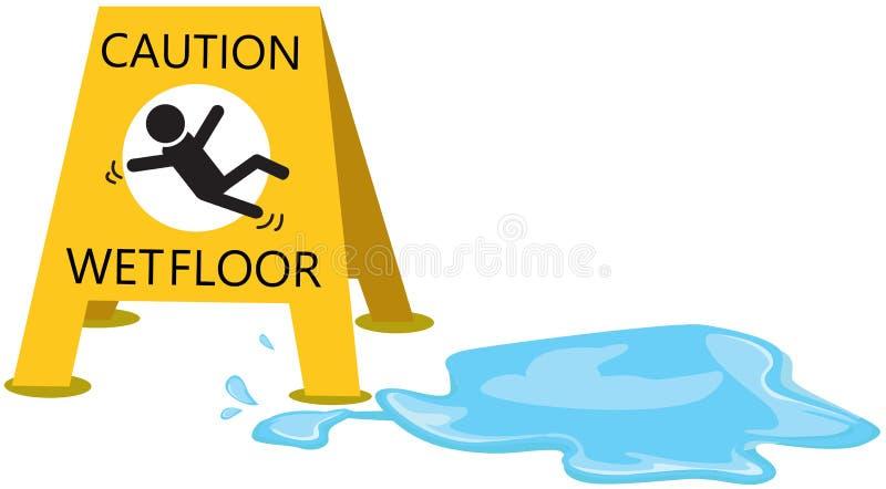 Ostrożność śliska z kropli wodą ilustracji