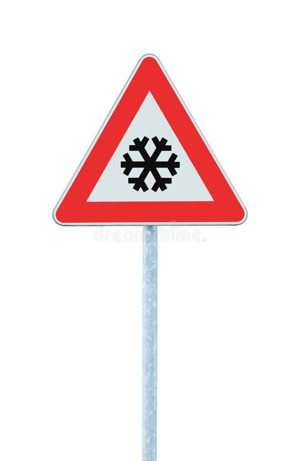 Ostrożność, śnieg lub lodowy drogowy znak, odizolowywający, śliski lodowaty ryzykowny zima ruch drogowy, naprzód, opadu śniegu ry zdjęcia royalty free