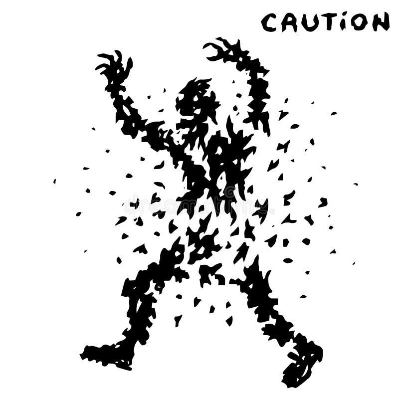 Ostrożność żywego trupu czarni znaki również zwrócić corel ilustracji wektora ilustracja wektor