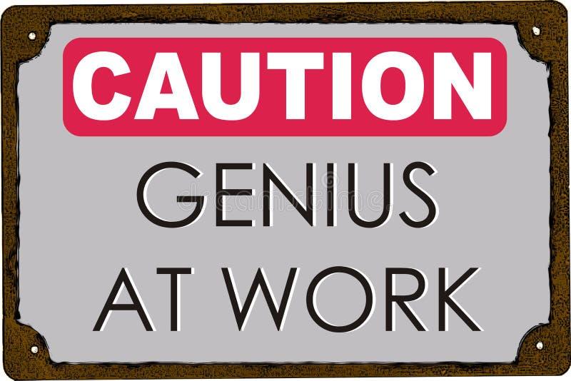 Ostrożność geniusz przy pracą royalty ilustracja
