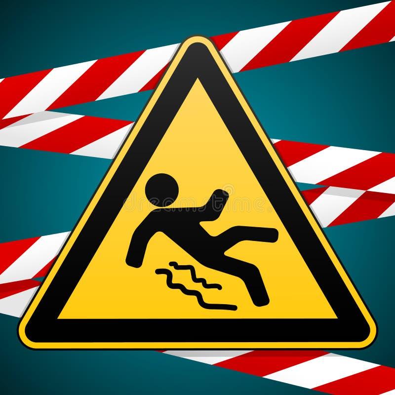 Ostrożność - niebezpieczeństwo ono Wystrzega się śliski Zbawczy znak Ostrzegawczy trójbok i skrzyżowanie ostrzeżenie zespołów pro royalty ilustracja