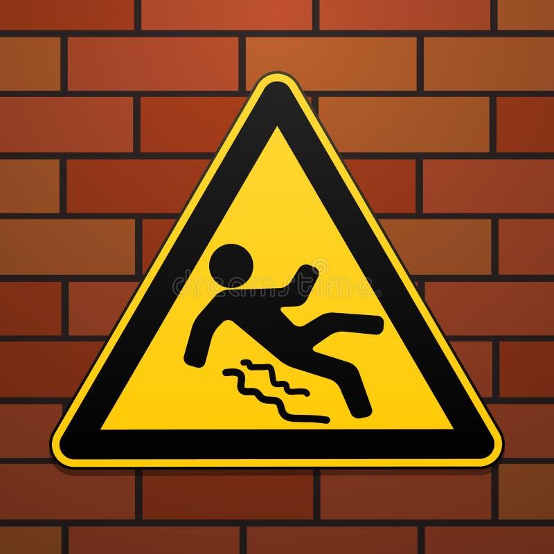 Ostrożność - niebezpieczeństwo ono Wystrzega się śliski Zbawczy znak Trójgraniasty znak na ściana z cegieł projekt przemysłowe we ilustracja wektor