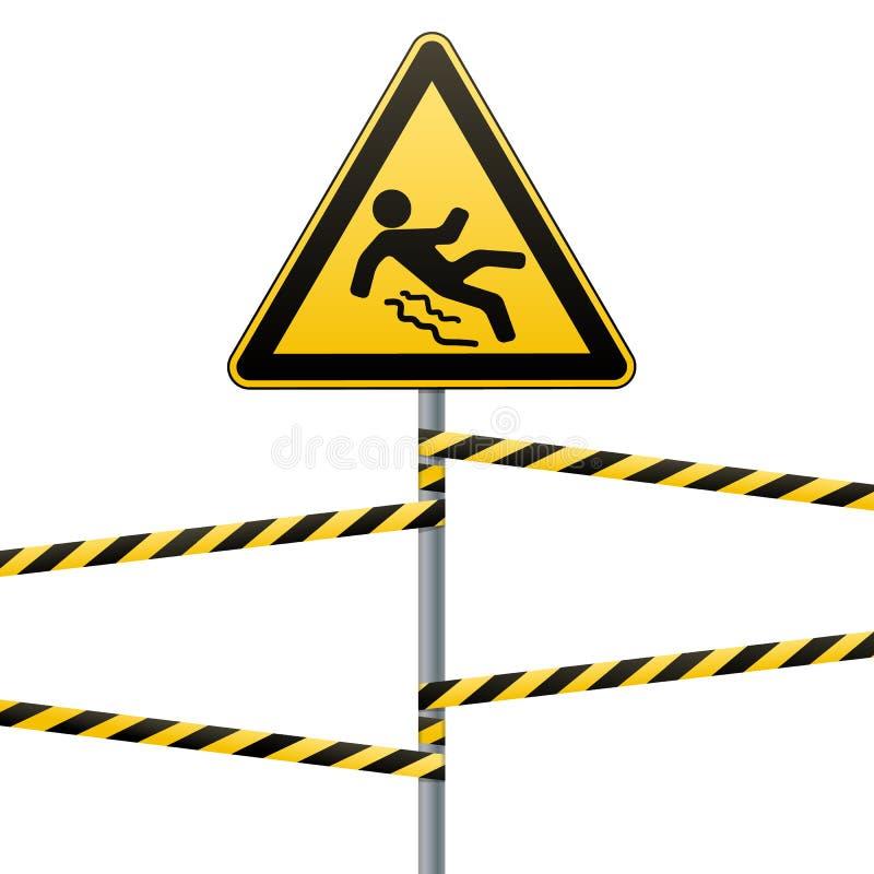 Ostrożność - niebezpieczeństwo ono Wystrzega się śliski Zbawczy znak Trójgraniasty znak na metalu słupie z ostrzeżeniem skrzyknie ilustracja wektor
