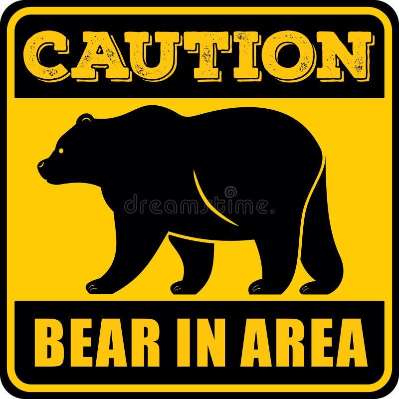 Ostrożność niedźwiedź w terenu znaku również zwrócić corel ilustracji wektora ilustracja wektor