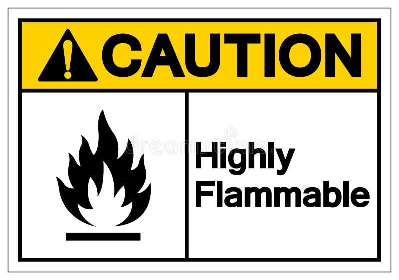 Ostrożność symbolu Wysoce Flammable znak, Wektorowa ilustracja, Odizolowywa Na Białej tło etykietce EPS10 royalty ilustracja