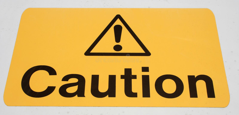 ostrożność znak zdjęcia stock