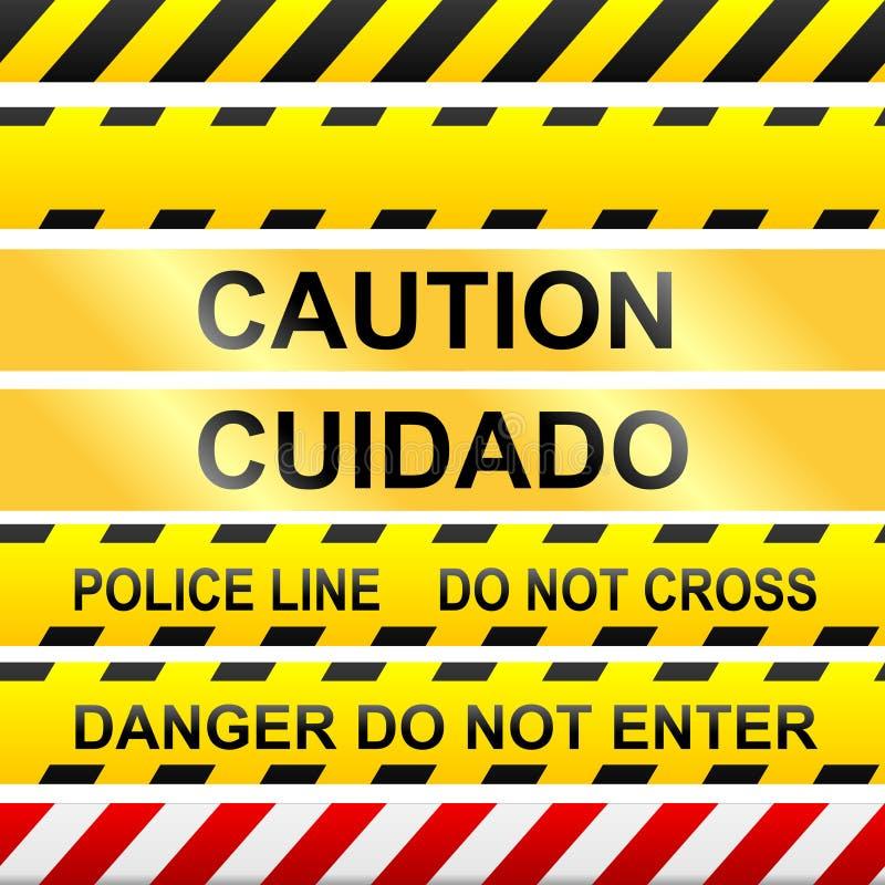 ostrożności milicyjny znaków taśmy wektor ilustracja wektor