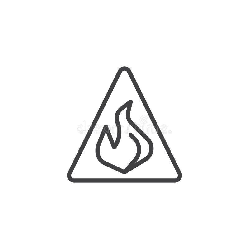 Ostrożności niebezpieczeństwa ogienia płomienia linii ikona royalty ilustracja