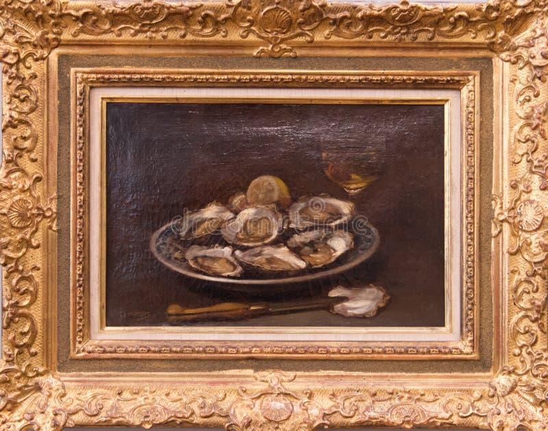 Ostron på en platta och ett exponeringsglas av vin vid Edouard manet royaltyfria foton