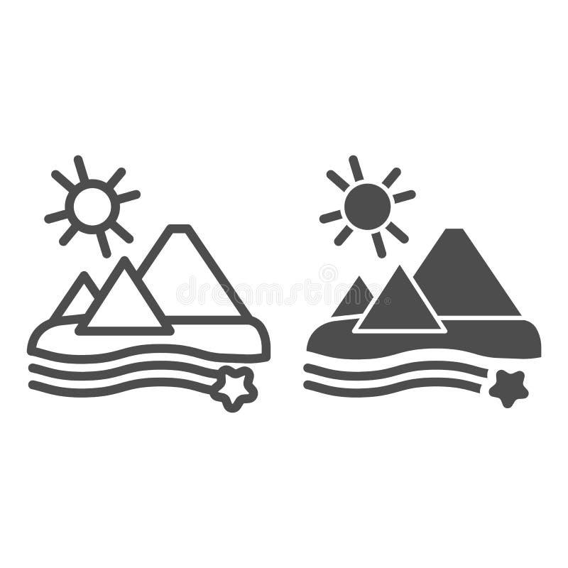 Ostrosłup linia i glif ikona Pustynna wektorowa ilustracja odizolowywająca na bielu Egipt konturu stylu projekt, projektujący  ilustracja wektor