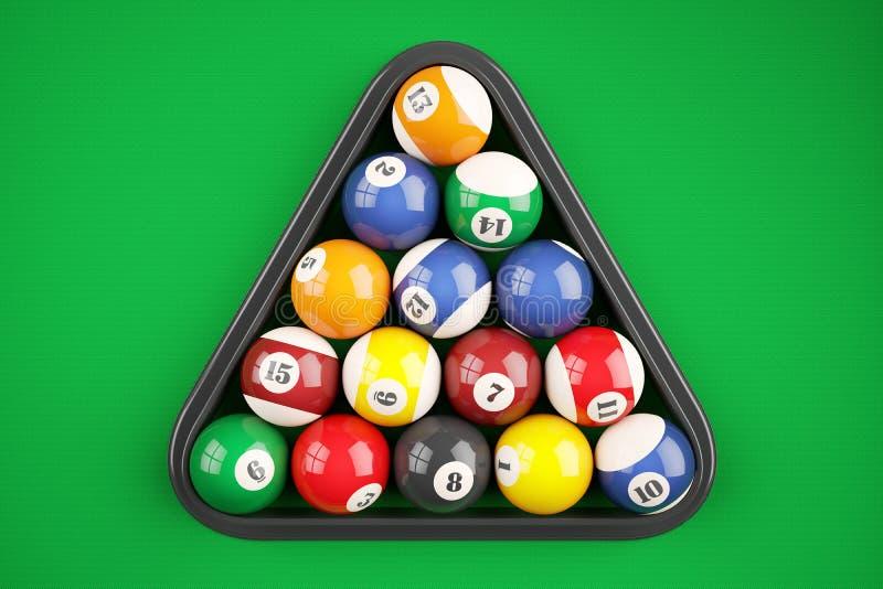 Ostrosłup piłek basen bilardowy na zielonym stole Odgórny widok 3d illustr royalty ilustracja