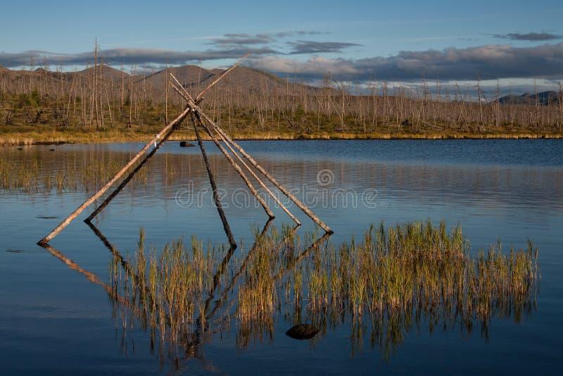 Ostrosłup słupy w jeziorze obrazy royalty free