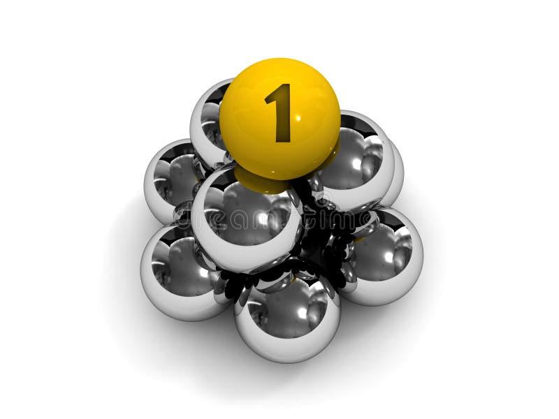 Ostrosłup. Złota piłka na wierzchołku. ilustracja wektor