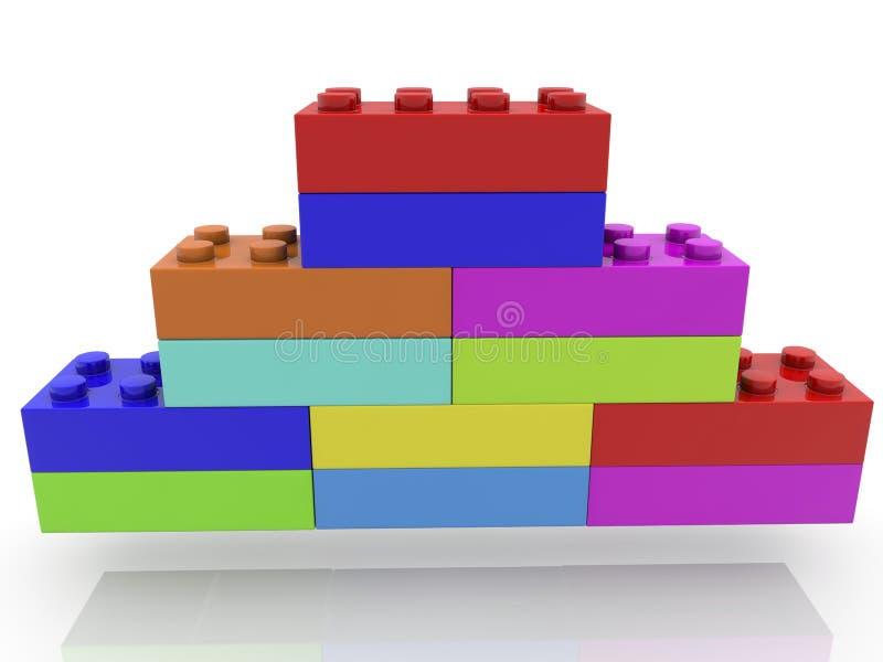 Ostrosłup zabawkarskie cegły na bielu ilustracji