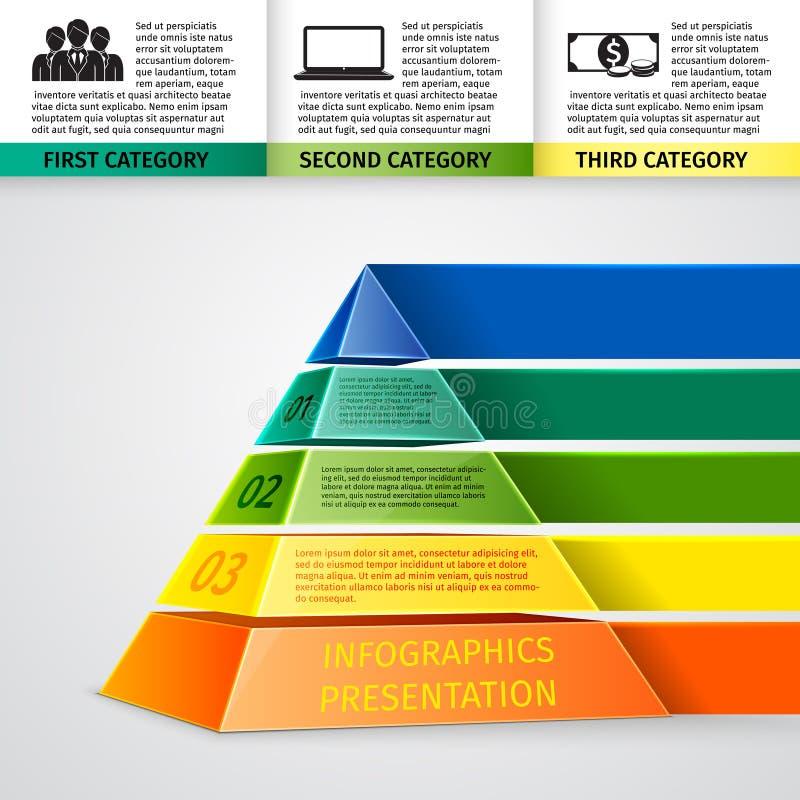 Ostrosłupa 3d infographics ilustracja wektor