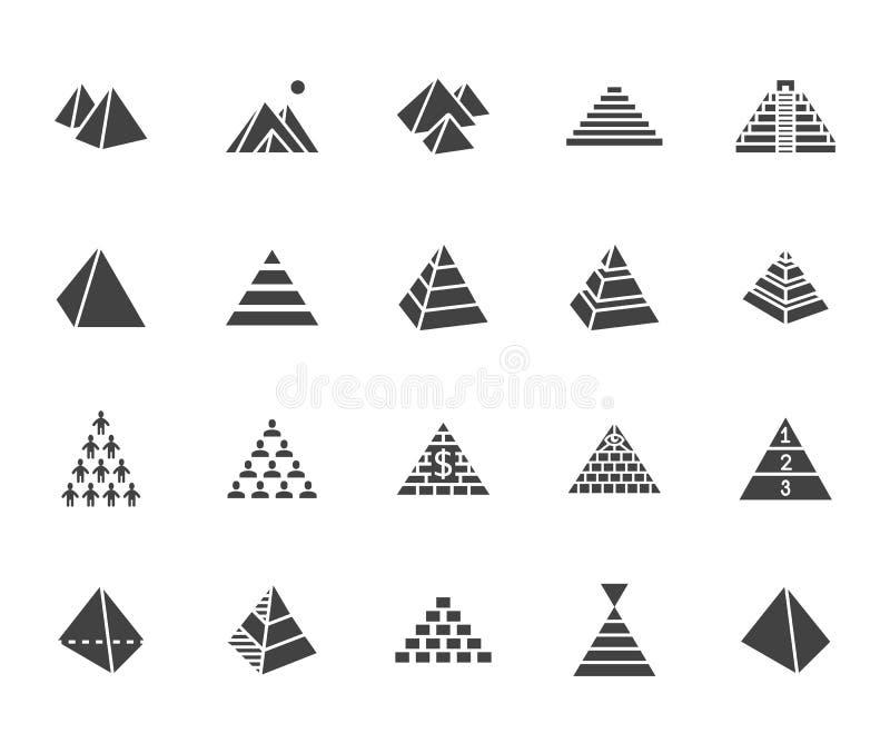 Ostrosłupa glifu ikony płaski set Egipski zabytek, abstrakta proces infographic, ponzi plan, sieć marketing, lider ilustracji