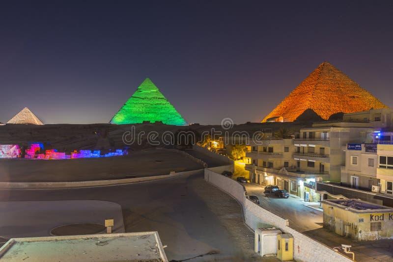 Ostrosłupy dźwięki i światła przedstawienie, Giza, Egipt zdjęcie royalty free