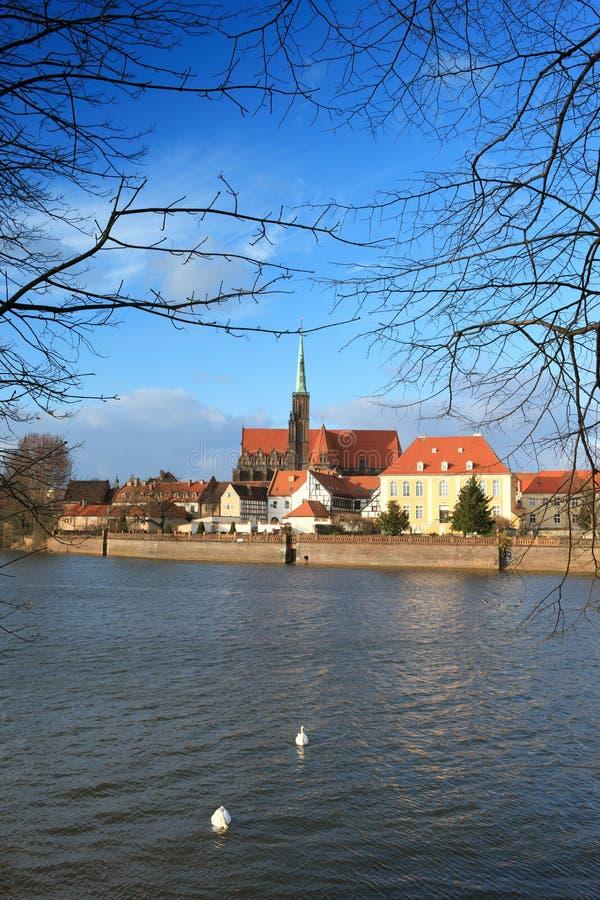 Ostrow Tumski. Near Odra river in Wroclaw, Poland stock photos