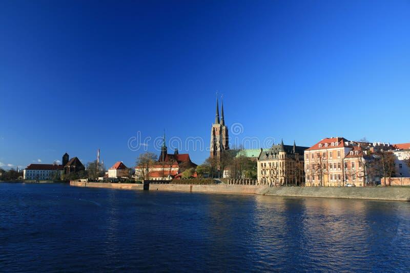 Ostrow tumski, wroclaw, poland. View of ostrow tumski, wroclaw, poland, famous landmark, breslau royalty free stock photography