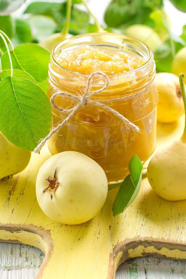 Ostruzione della pera in un vaso di vetro ed in una frutta fresca immagine stock