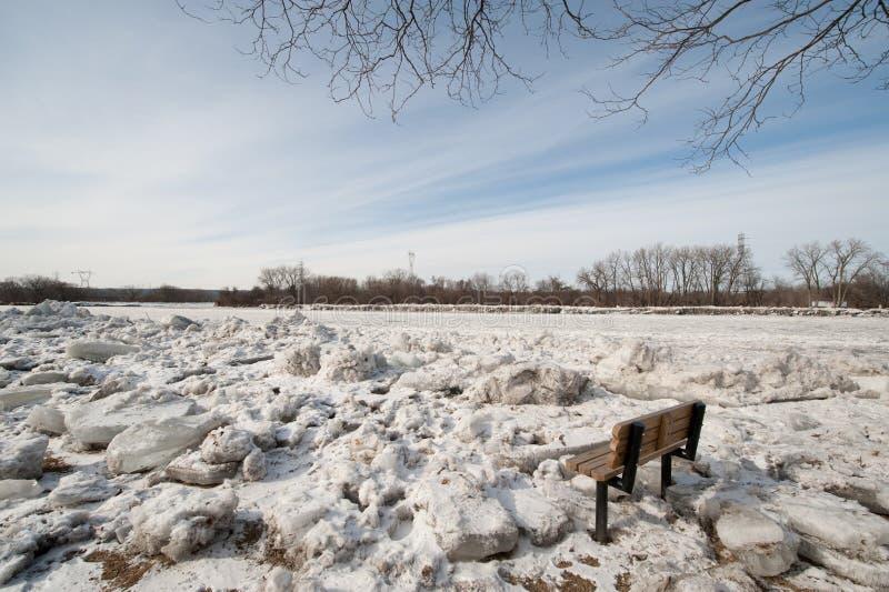 Ostruzioni del ghiaccio sul fiume del Mohawk immagini stock libere da diritti