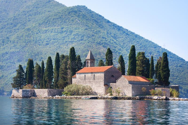 Ostrvo Sveti Dorde Island of Saint George is one of the two islets off the coast of Perast in Bay of Kotor stock image