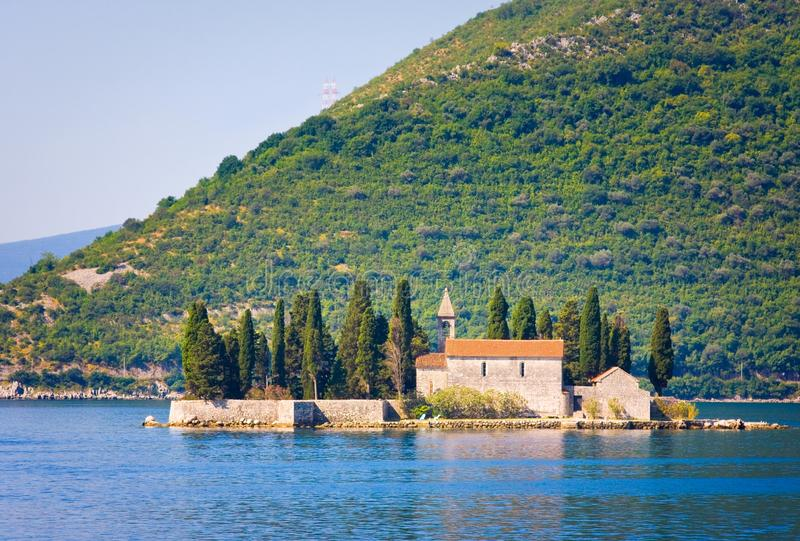 Ostrvo Sveti Dorde ( Island of Saint George) s is one of the two islets off the coast of Perast in Bay of Kotor royalty free stock photo