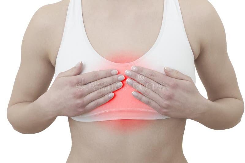 Ostry ból w kobiety klatce piersiowej fotografia royalty free