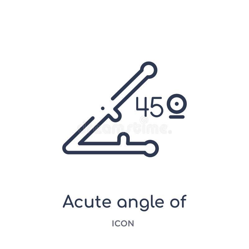 ostry kąt 45 stopni ikony od kształtów zarysowywa kolekcję Cienieje kreskowego ostrego kąt 45 stopni ikony odizolowywającej na bi ilustracji