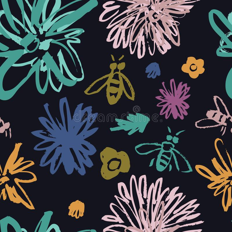 Ostry kwiecisty wzór z pszczoły Czarnym tłem royalty ilustracja