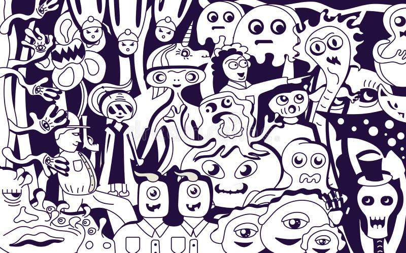 Ostry potwora kolaż royalty ilustracja