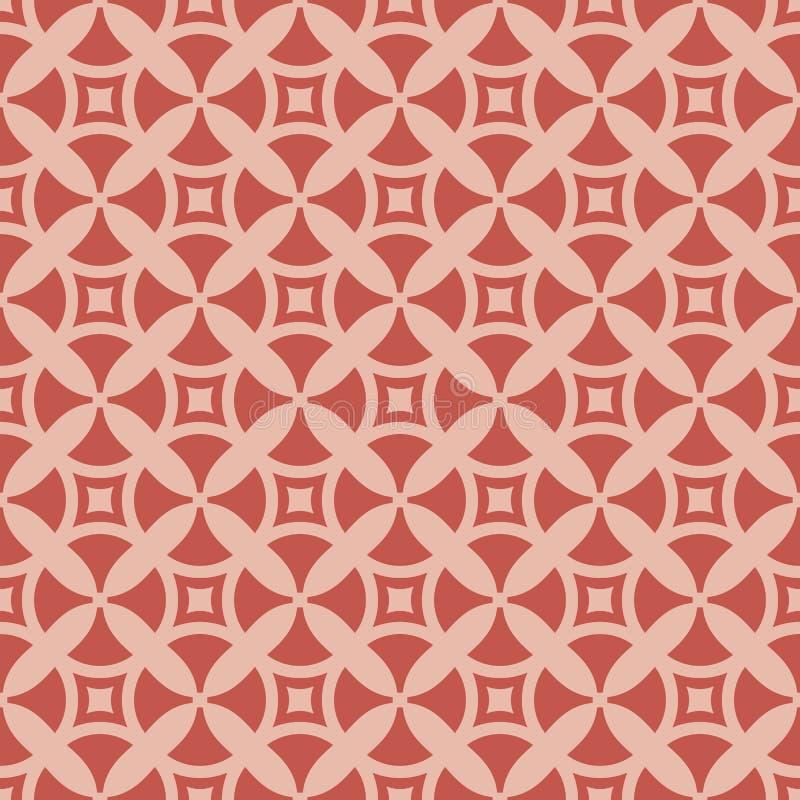 Ostry stylowy geometryczny bezszwowy wzór z prostymi postaciami kolory różowią czerwień ilustracji