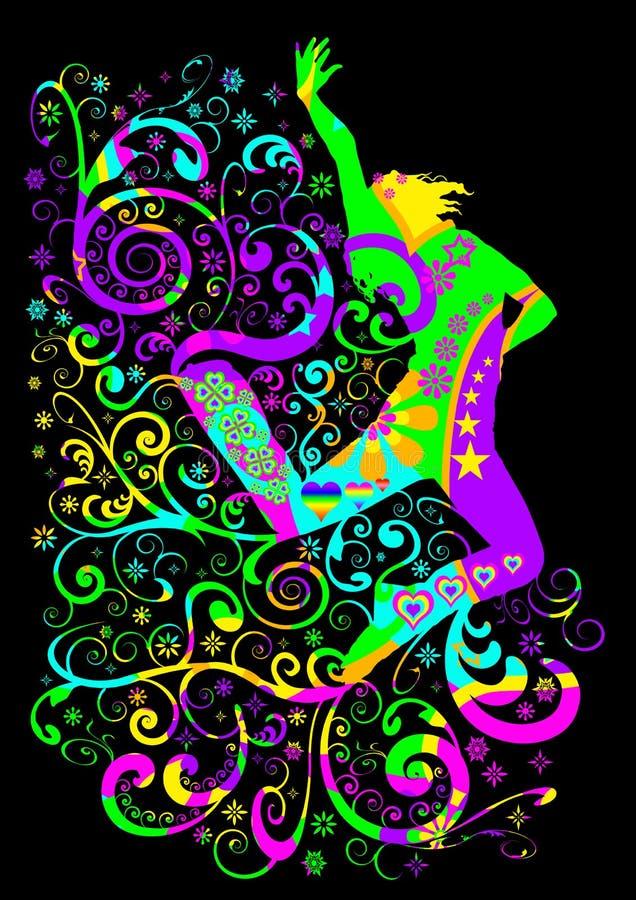 ostry tancerza doskakiwanie royalty ilustracja