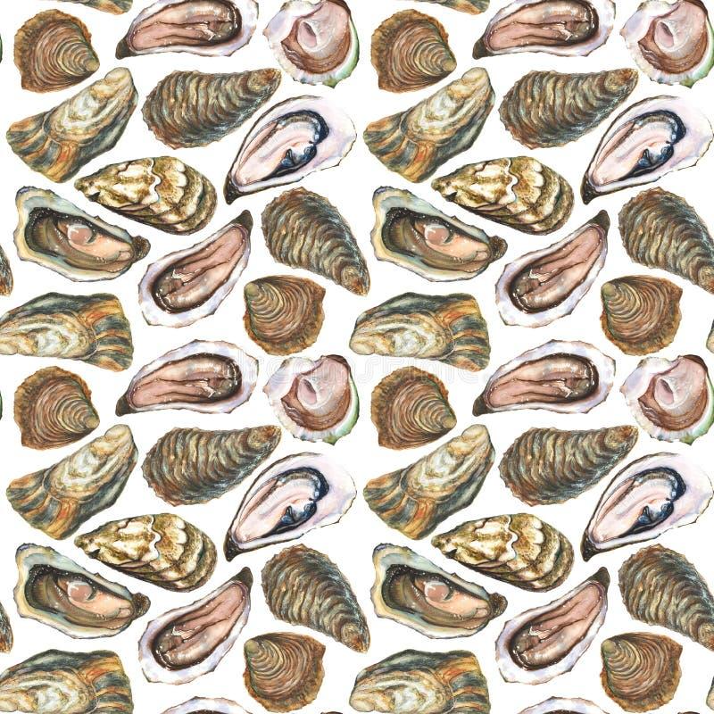 Ostryga bezszwowy wzór ilustracja wektor